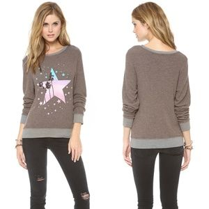 Wildfox Starry Palms Gray Baggy Beach Sweater M